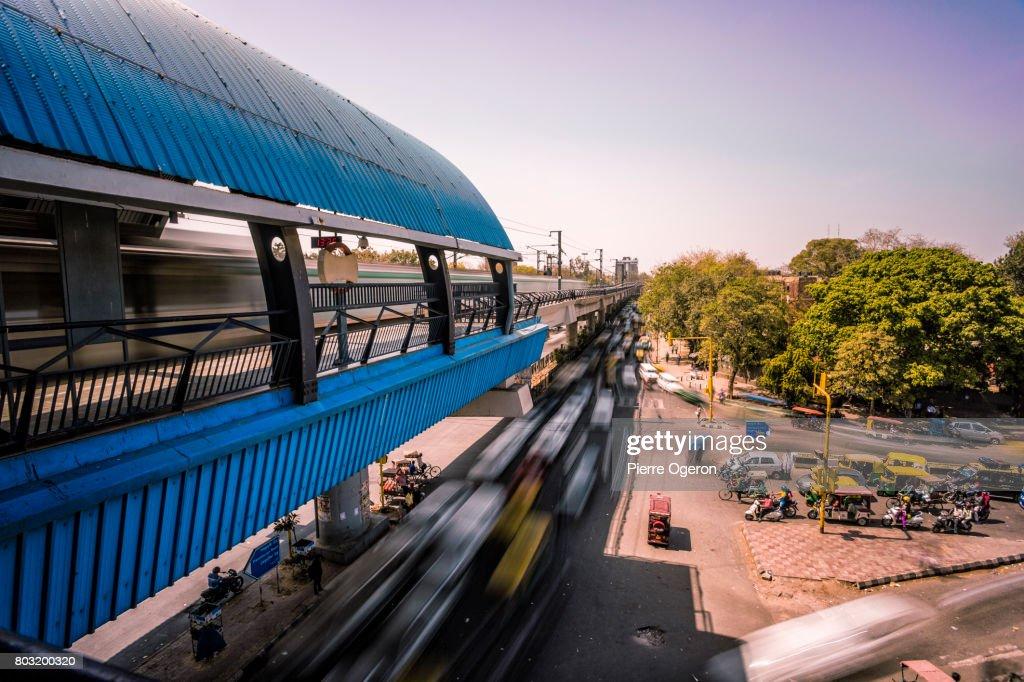 New Delhi elevated metro station, India : Stock Photo