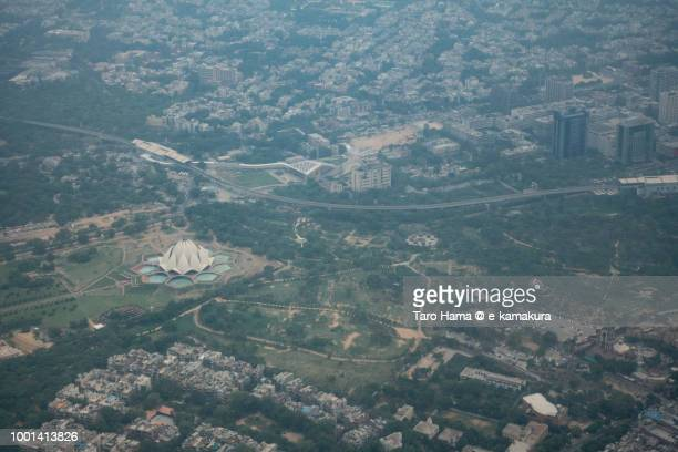 New Delhi in India daytime aerial view from airplane