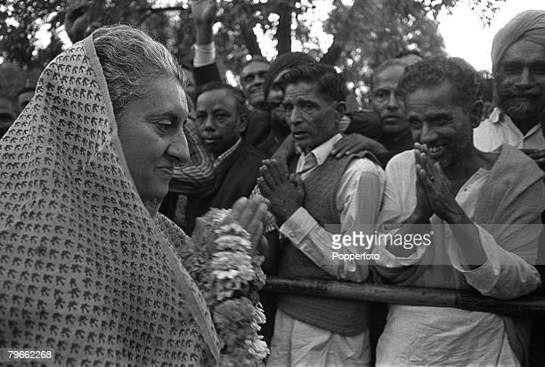 New Delhi India 11th March 1971 Indian Prime Minister Mrs Indira Gandhi enjoys public support during the mid term elections