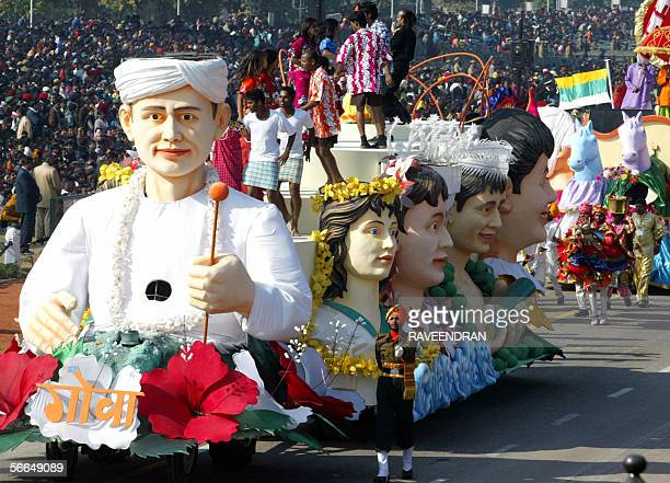 A tableaux from Goa is displayed during a full dress rehearsal for India's upcoming Republic Day parade in New Delhi 23 January 2006 The country wide...