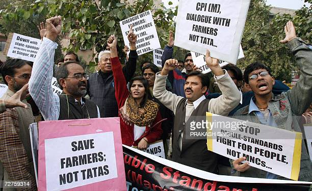 Activists of the National Alliance of People's Movement and various organisations shout slogans against the Communist Party of India during a protest...