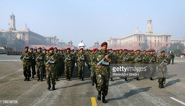 An Indian Army Commando contingent march on Rajpath Street during the rehearsal for the Republic Day parade in New Delhi 17 January 2007 India will...