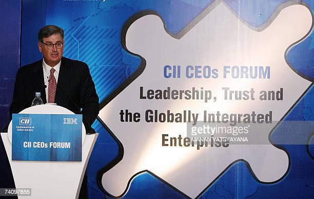 Chairman, President and CEO, IBM Corporation, Samuel J. Palmisano addresses media representatives during a CII-organised CEOs forum in New Delhi, 08...