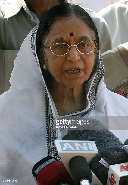 Congressled United Progressive Alliance and Leftist parties Presidential nominee Pratibha Patil addresses media representatives outside The...