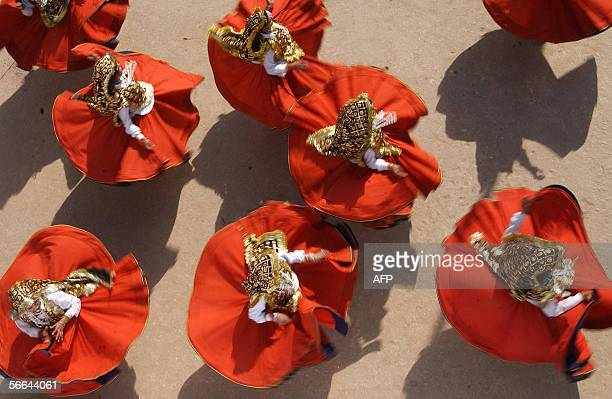 Dancers from Haryana perform a tradional folk dance at a press preview in New Delhi 22 January 2006 The National Folk Dance Festival is due to be...