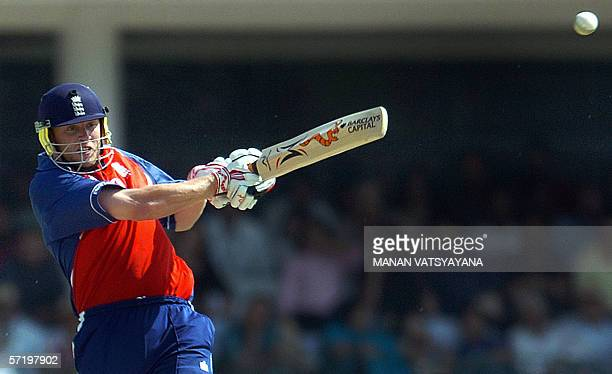 England cricket captain Andrew Flintoff plays a shot during the first OneDay International cricket match between India and England at the Ferozeshah...