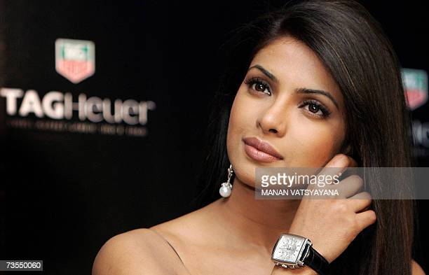 Former Miss World and Bollywood film actress Priyanka Chopra poses with a Tag Heuer watch in New Delhi 12 March 2007 Tag Heuer named Chopra as its...