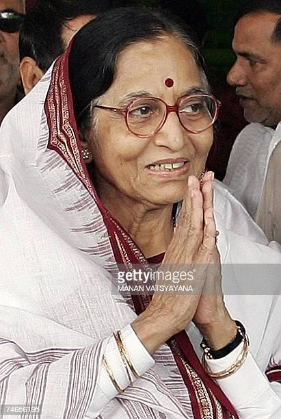 Governor of the Indian state of Rajasthan and Congress candidate for the forthcoming Presidential election Pratibha Patil gestures to media...