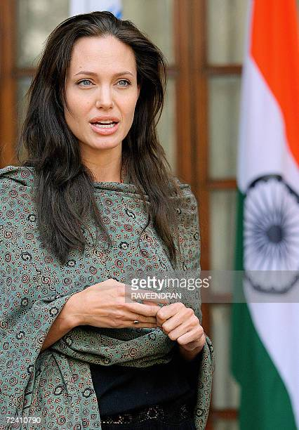 Hollywood film actress and UNHCR goodwill ambassador Angelina Jolie talks to the media after meeting with the Indian Minister of State for External...