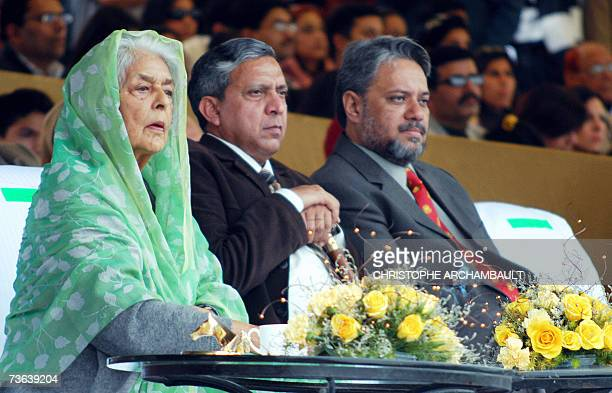 In this picture taken 18 February 2007 at the Jaipur Polo Ground in New Delhi, spectators including honour guest Maharani Gayatri Devi , the widow of...