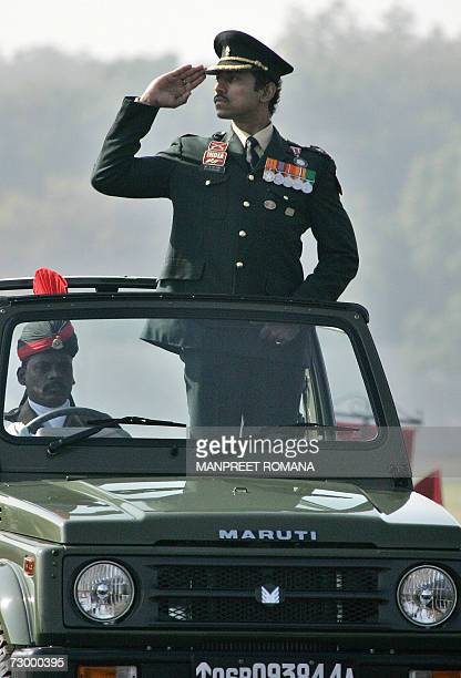 Indian Army officer and Olympic silver medalist Rajvardhan Rathore salutes during the Army Day parade in New Delhi 15 January 2007 The Indian Army...