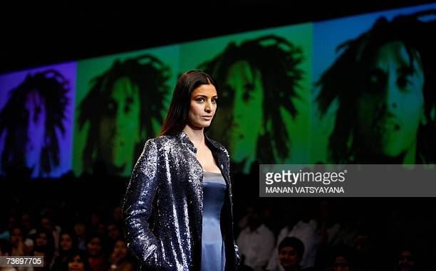 Indian Bollywood Actress Tabu display creation by Indian designer Rajesh Pratap Singh during the Grand finale of Wills India Fashion Week in New...