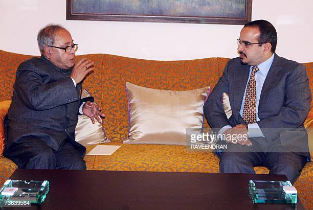 Indian External Affairs Minister Pranab Mukherjee talks with Crown Prince of the Kingdom of Bahrain and CommanderinChief of the Bahrain Defence Force...