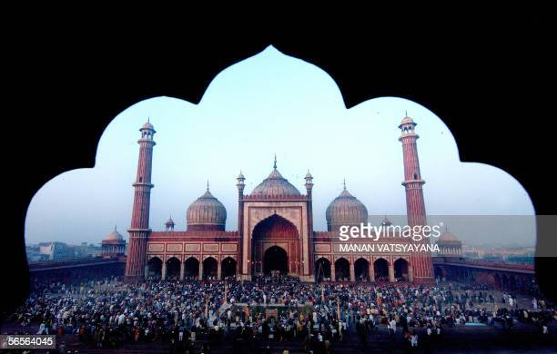 Indian Muslims offer prayers on the Muslim festival of Eid alAdha at the Jama Masjid mosque in New Delhi 11 January 2006 Eid alAdha or the feast of...