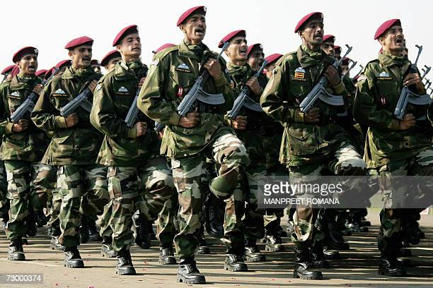 Indian ParaCommandos march past during the Army Day parade in New Delhi 15 January 2007 The Indian Army celebrated its 59th anniversary by displaying...