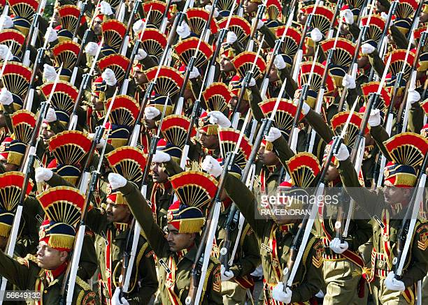 Indian police officers march during a full dress rehearsal for India's upcoming Republic Day parade in New Delhi 23 January 2006 The country wide...