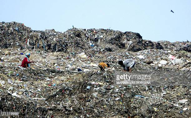Indian ragpickers search through a garbage dump landfill in New Delhi 04 June 2006 on the eve of World Environment Day World Environment Day...
