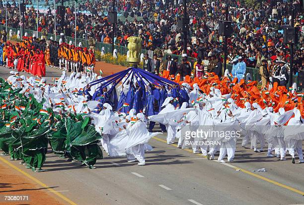 Indian school children perform a Rajasthani dance during a full dress rehearsal for India's upcoming 58th Republic Day parade in New Delhi 23 January...