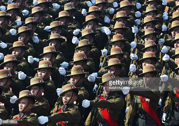 Indian soldiers march during the country's 57th Republic Day parade in New Delhi 26 January 2006 India showcased its military might and cultural...