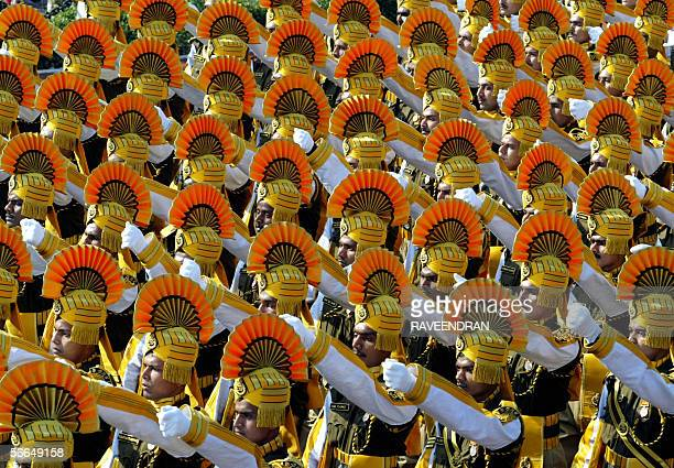 Indian soliders march during a full dress rehearsal for India's upcoming Republic Day parade in New Delhi 23 January 2006 The country wide...