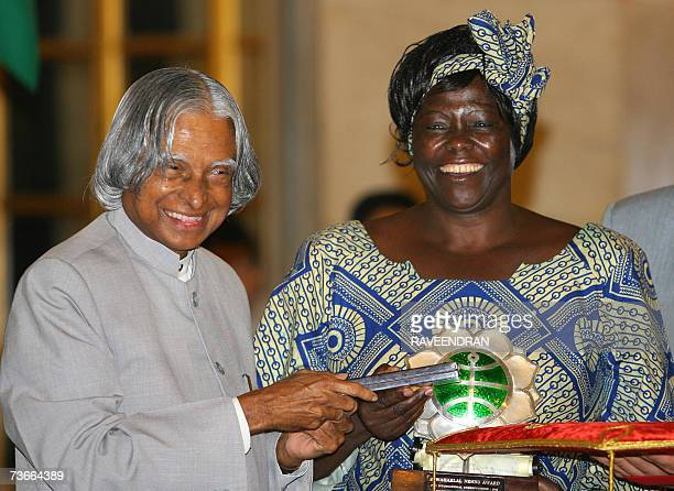 Kenyan Nobel Laureate Wangari Muta Maathai the first African woman to win the Nobel Peace Prize in 2004 and known for her zealous espousal of human...