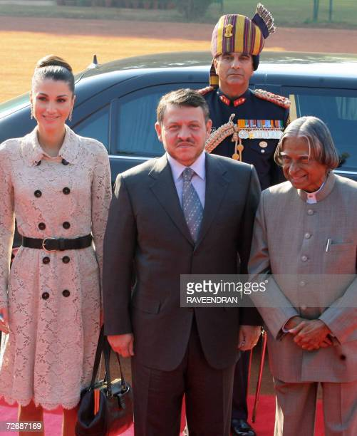 King of the Kingdom of Jordan Abdullah II Bin AlHussein poses with his wife Queen Rania Al Abdullah and Indian President APJ Abdul Kalam during a...
