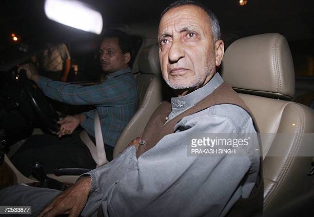 Leader of the Indian Kashmiri separatist All Parties Hurriyat Conference Professor Abdul Ghani Bhat arrives at the residence of Pakistan's High...