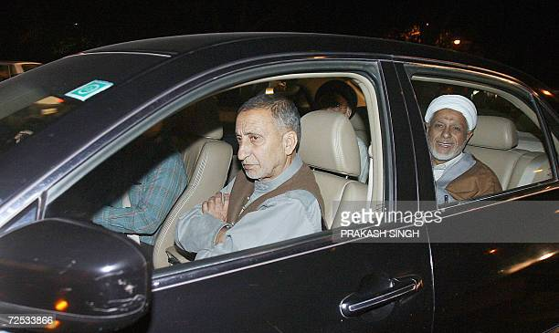 Leaders of the Indian Kashmiri separatist All Parties Hurriyat Conference Professor Abdul Ghani Bhat and Maulana Abbas Ansari arrive at the residence...