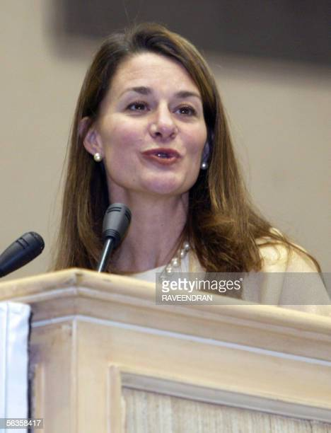 Melinda Gate wife of Microsoft Chairman and Chief Software Architect Bill Gates and Chairperson of the Bill and Melinda Gates Foundation deliver a...