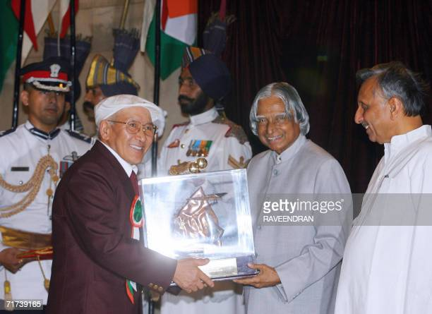 Nawang Gombu receives the Tenzing Norgay National Adventure Award for a life time achievement from Indian President Abdul Kalam at a function at the...
