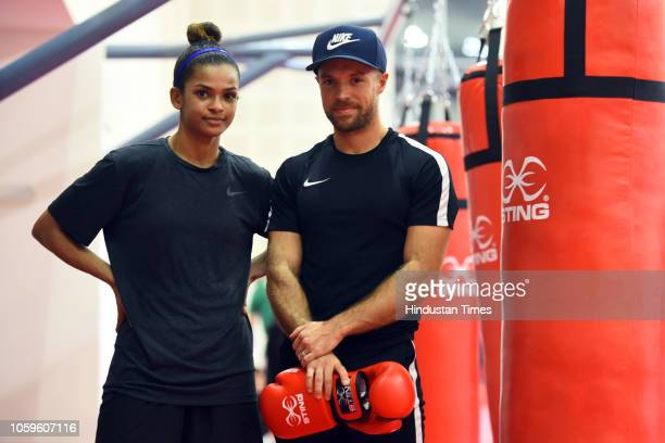 Somalian boxer Ramla Ali seen in action during the practice sesssion for the upcoming 'AIBA Women's World Boxing Championships 2018' at IG Stadium in...