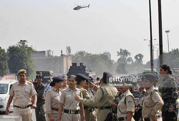 A police helicopters hovers over during the AISA students protest against UGC for the discontinuation of the nonNET scholarship for research scholars...
