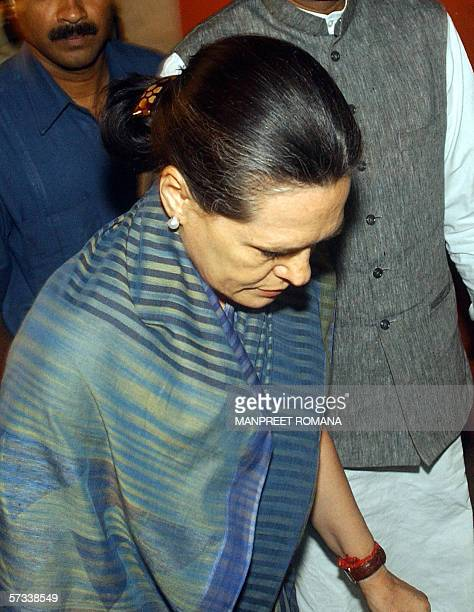 President of India's Congress Party Sonia Gandhi arrives at The LNJP Hospital in New Delhi 14 April 2006 to visit injured victims of twin bomb blasts...