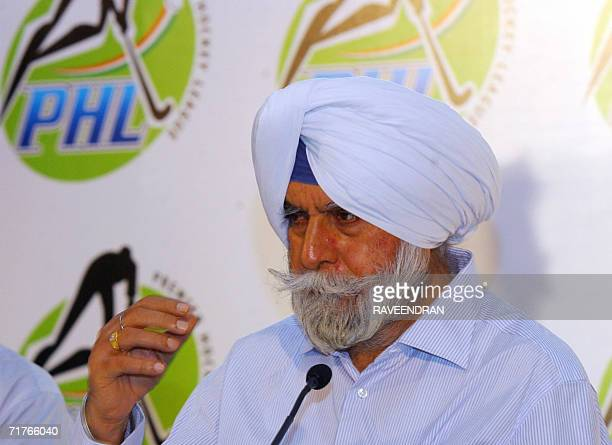 President of The Indian Hockey Federation KPS Gill addresses media representatives during a press conference in New Delhi 01 September 2006 A...