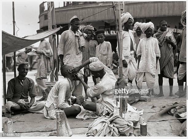 Scenes In India The street Barber of Delhi