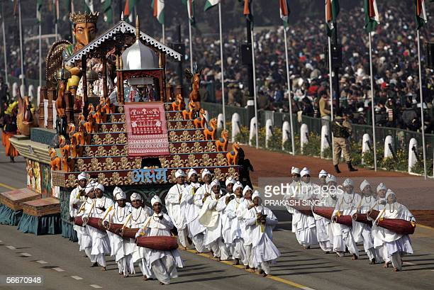 Tableaux of India's state of Assam takes part in the country's 57th Republic Day parade in New Delhi 26 January 2006 India showcased its military...