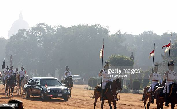 US President George W Bush's limousine arrives at the Presidential Palace for an official welcoming ceremony in New Delhi 02 March 2006 Bush is on a...