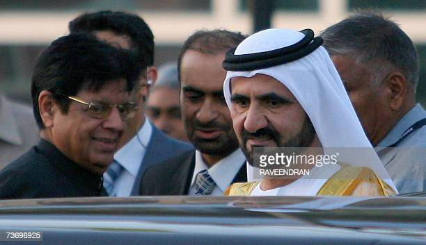 VicePresident and Prime Minister of the United Arab Emirates and Ruler of Dubai Sheikh Mohammed bin Rashid Al Maktoum is accompanied by Indian...