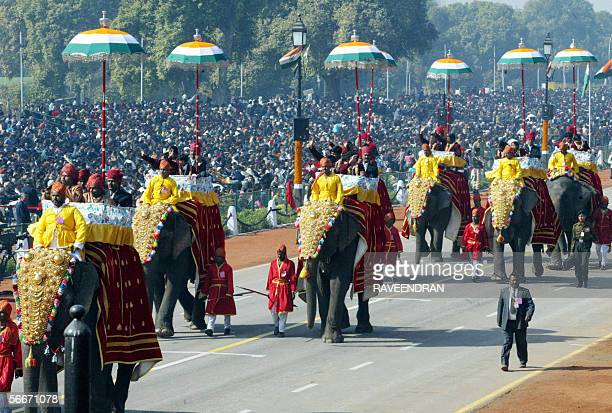 Winners of the National Awards for Bravery for Children sit on elephants during India's 57th Republic Day parade in New Delhi 26 January 2006 The...
