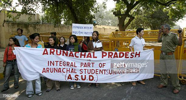 Youths from The Arunachal Students Union Delhi shout anti-Chinese slogans and brandish placards during a protest in New Delhi, 19 November 2006,...