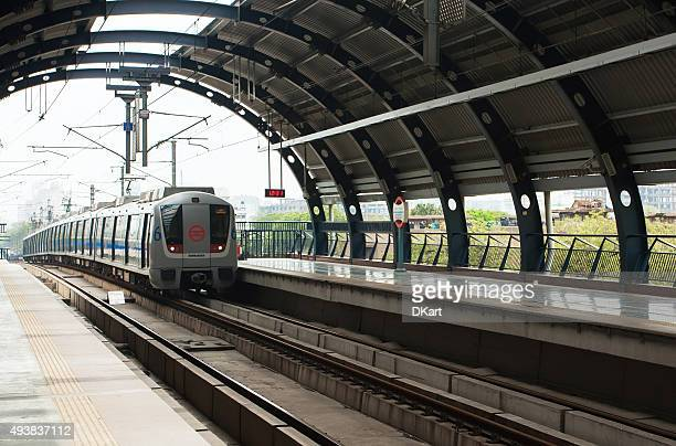 new delhi metro - underground rail stock pictures, royalty-free photos & images