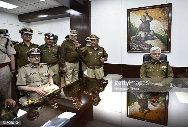 New Delhi Police Commissioner Alok Kumar Verma takes over as Commissioner of Police Delhi from BS Bassi at PHQ on February 29 2016 in New Delhi India...