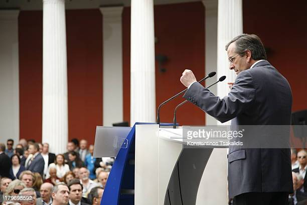 CONTENT] New Democracy leader Antonis Samaras speaking at the Zappion press center presents his party's platform on society the institutions and...