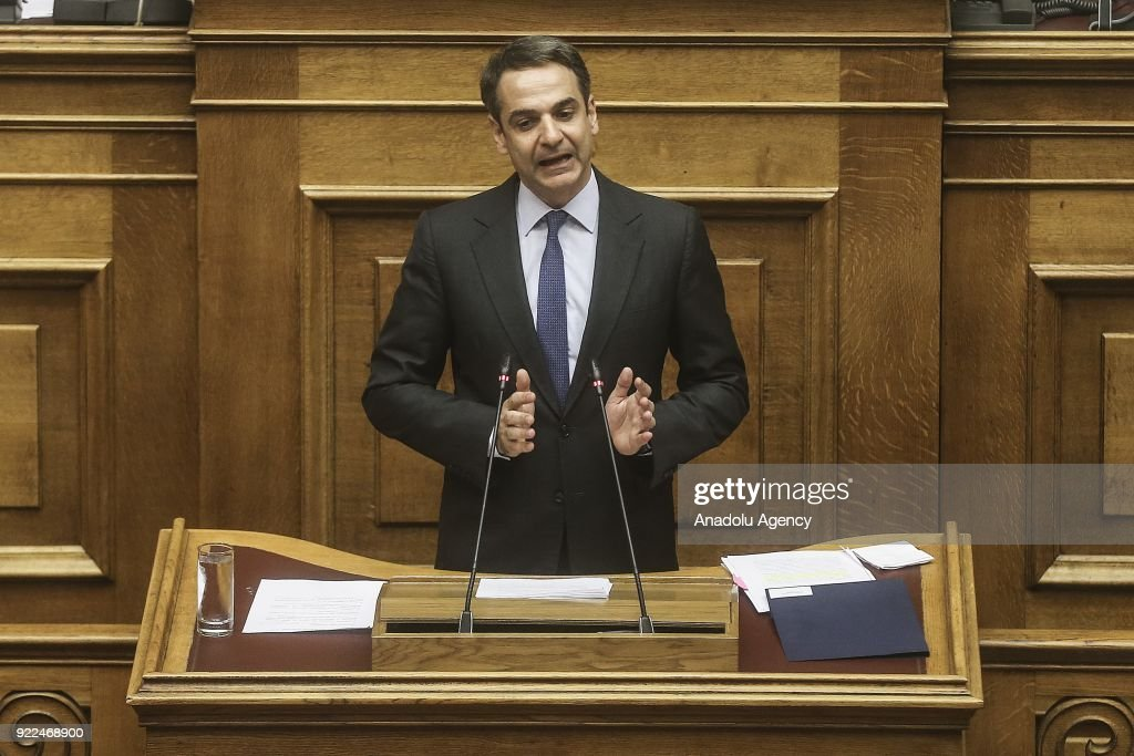 New Democracy leader Kyriakos Mitsotaki addresses Greek Parliament during the session over the Novartis investigation in Athens, Greece on February 21, 2018.