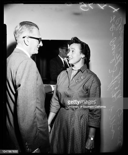 New Democratic National Committee Women 20 July 1956 Mrs Elizabeth Smith Paul Ziffren Caption slip reads 'Photographer Gray Date Reporter Greenberg...
