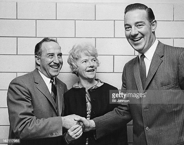 APR 14 1965 APR 1966 NOV 8 1969 New Denver Republican Party Chairman accepts congratulations John B Wogan Jr right receives best wishes form Dist...
