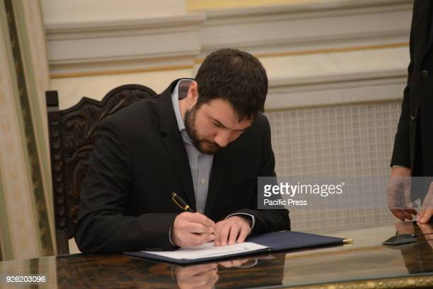 MANSION ATHENS ATTIKI GREECE New Deputy Minister for Labor Social Security and Social Solidarity Athansios Hliopoulos puts his signature after his...