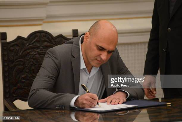 MANSION ATHENS ATTIKI GREECE New Deputy Minister of Culture and Sports Konstantinos Stratis puts his signature after his political oath