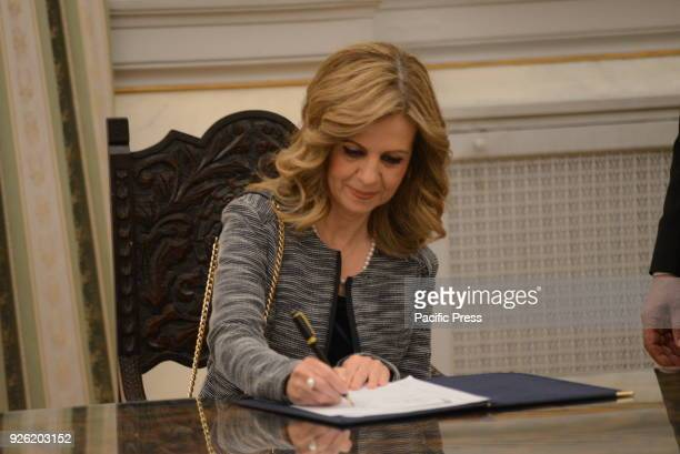 MANSION ATHENS ATTIKI GREECE New Deputy Minister of Education Meropi Tzoufi put her signature after her political oath