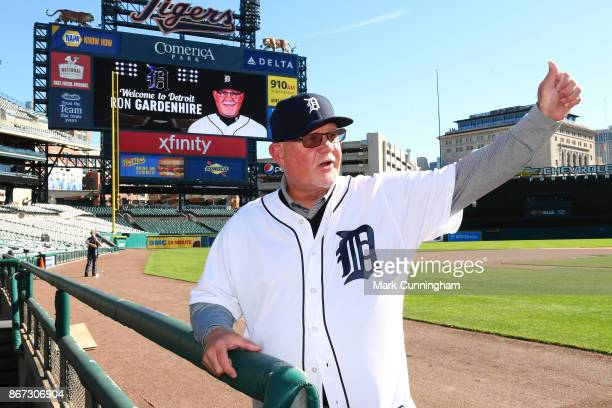New Detroit Tigers manager Ron Gardenhire gives a thumbs up out on the field during the press conference to announce his signing at Comerica Park on...